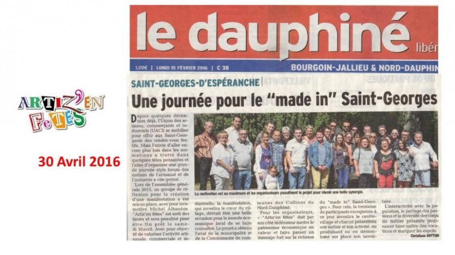 Artiz En Fêtes - Le Dauphiné 15 Fév 2016